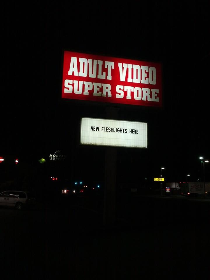 Adult stores Adult Video super store billboard advertising fleshlights