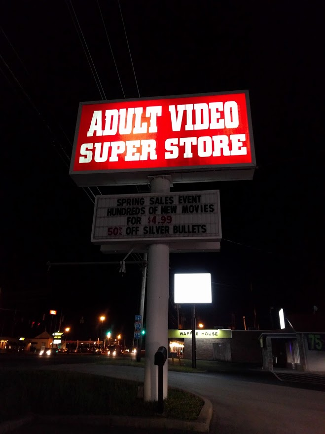 Adult stores Adult Video super store billboard silver bullet