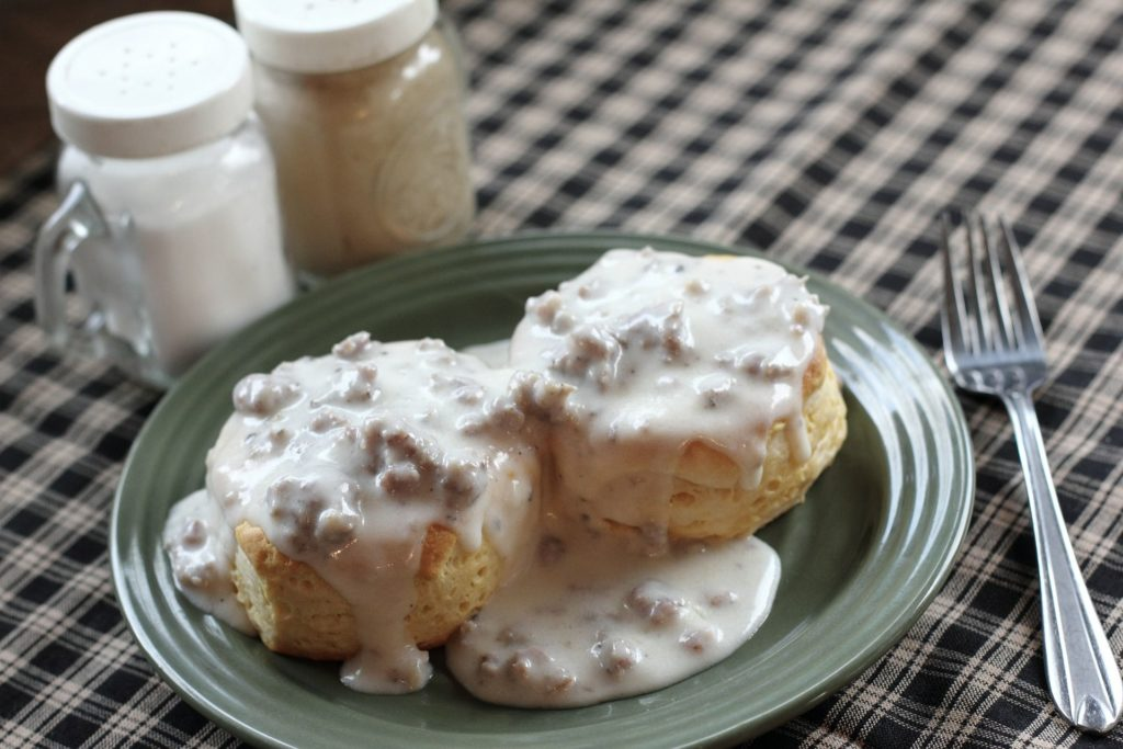 Biscuits and gravy, example of southern foods